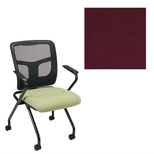 Office Master Yes Collection YS70N Ergonomic Nesting Chair - Fixed Standard Armrests - Black Mesh Back - Grade 1 Fabric - Celestial Hyperion Red 1207 PLUS Free Ergonomics eBook