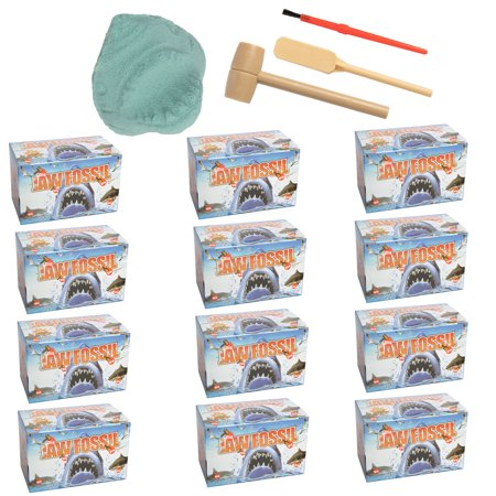 Barry-Owen Co. 12 Pack Shark Jaw Fossil Dig Toy Tools Reveal Mini Animals Or Real Teeth Archaeology Educational For