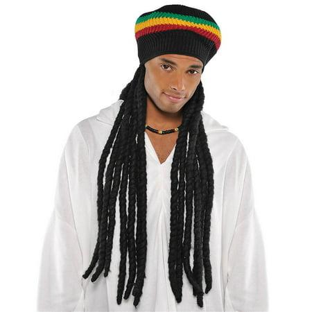 Buffalo Soldier Mens Adult Rasta Hat Black Wig Bob Marley Costume Set