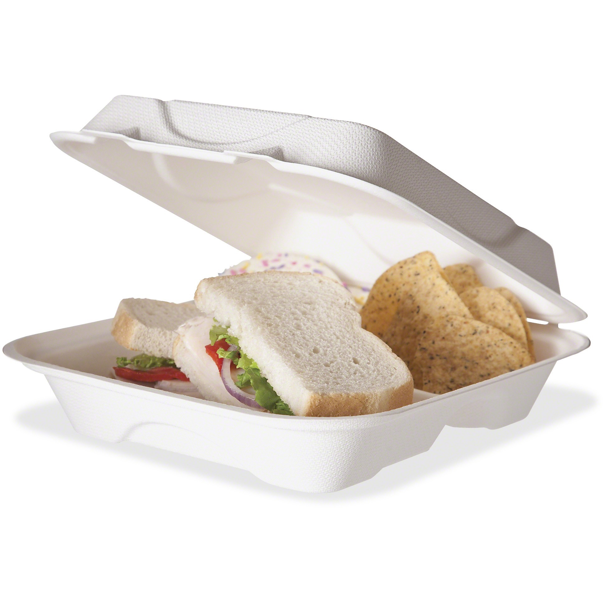 Eco-Products, ECOEPHC93, 3-compartment Clamshell Containers, 200 / Carton, White