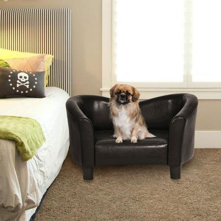 Costway PU Leather Pet Sofa Lounge Durable Snuggle Dog Puppy Sleeping Bed Dark - Leather Dog Sofa