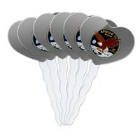 NASA Apollo 11 50th Anniversary Patch with Eagle on The Moon Heart Love Cupcake Picks Toppers Decoration Set of 6