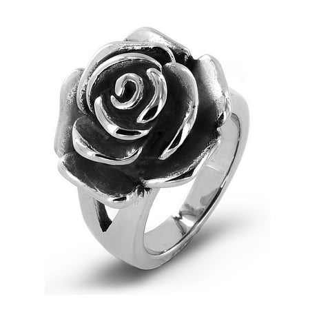Antiqued Stainless Steel Blooming Rose Cocktail Ring (20mm) Cat Stainless Steel Ring