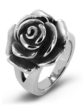 Coastal Jewelry Blooming Rose Stainless Steel Cocktail Ring (20mm)