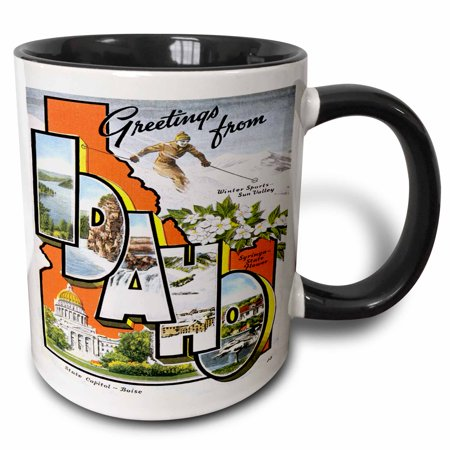 - 3dRose Greetings from Idaho Sun Valley Boise with Scenes from the State, Two Tone Black Mug, 11oz