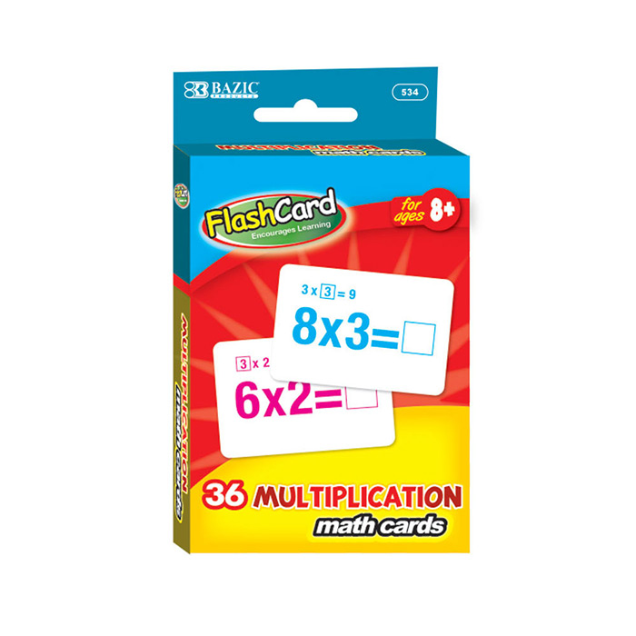 BAZIC Multiplication Flash Cards (36/Pack), Case Pack of 72