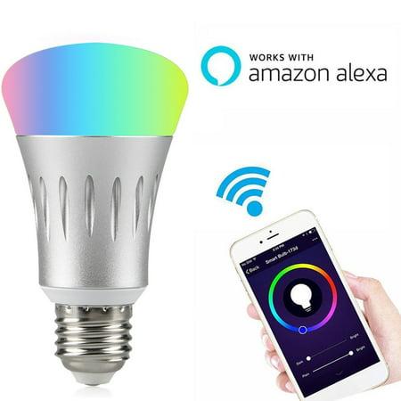tsv wifi smart led light bulb works with alexa no hub required e27 smart wifi bulb rgb multi. Black Bedroom Furniture Sets. Home Design Ideas