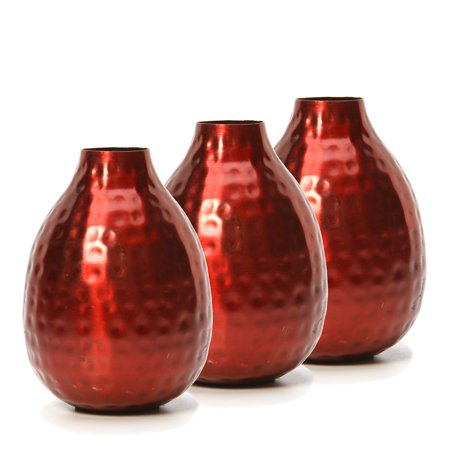 Hosley Set of 3 Red Metal Decorative Bud Vases - 4.5