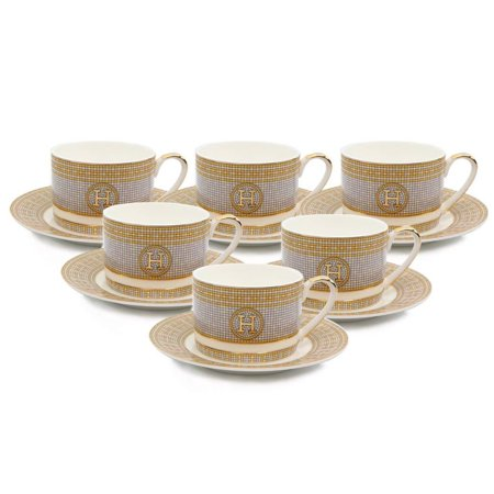 Royalty Porcelain 12-pc Tea or Coffee Cup Set for 6, Mosaic, Bone China - Pacific Coffee China