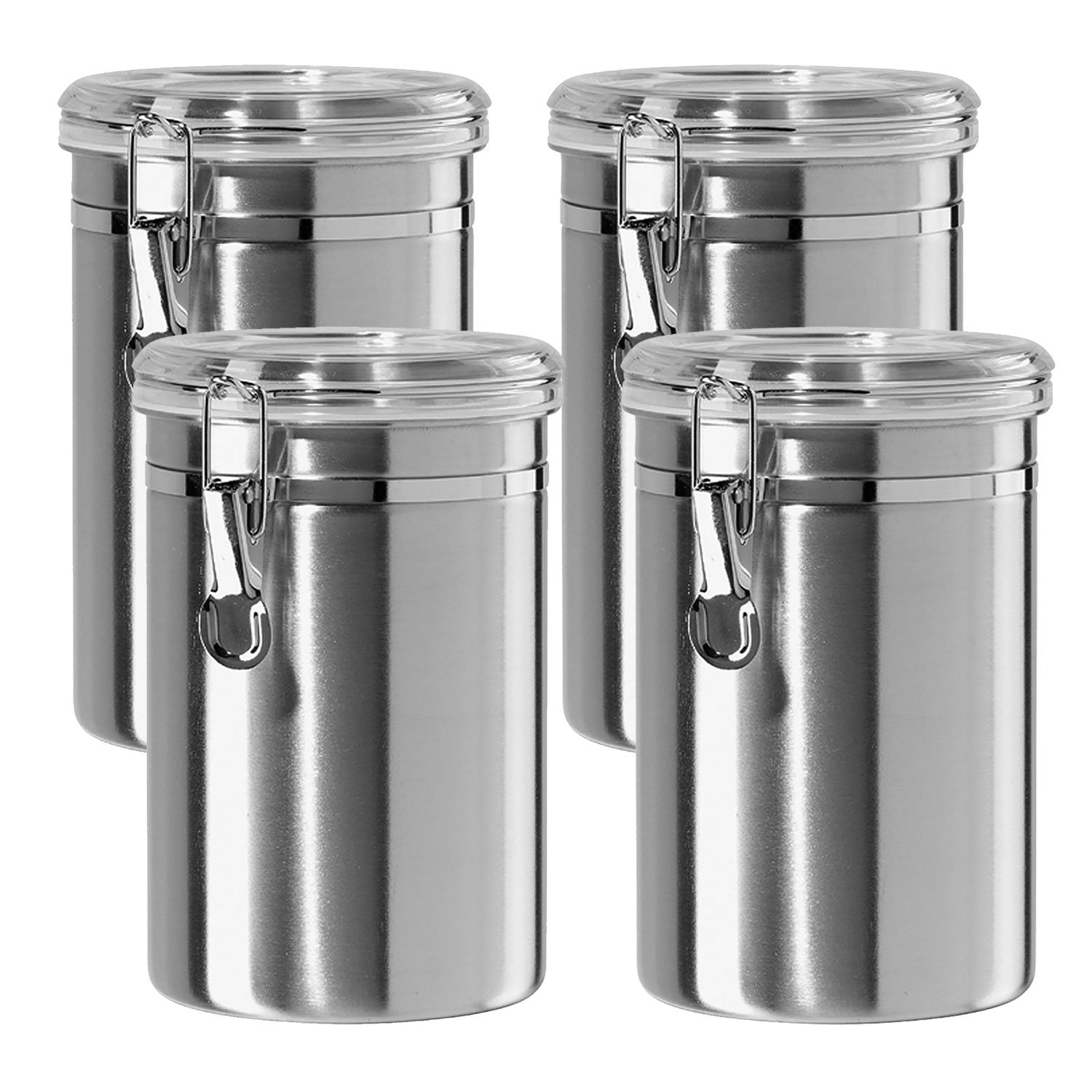 Silver yx 4 Piece Canister Set Stainless Steel Small 6 5 Inch 4