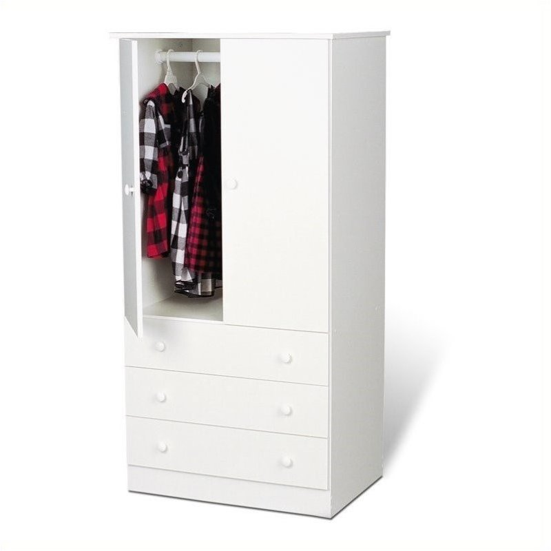 Bowery Hill Wardrobe Armoire in White by Bowery Hill