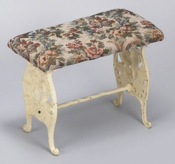 Cast Iron Bench in Distressed Finish with Floral Tapestry Seat