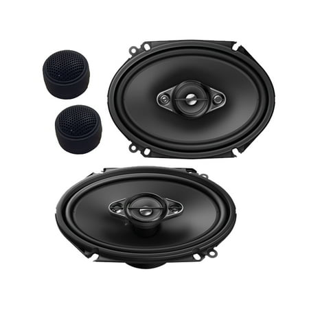 "Pioneer TS-A6880F 4-Way 6x8"" 350 Watts Coaxial Speakers W/ FREE pair of Tweeters"