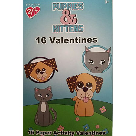 Paper Magic 16CT Studio 2/14 Puppies and Kittens Paper Activity Kids Classroom Valentine Exchange Cards (Valentine Exchange Cards)