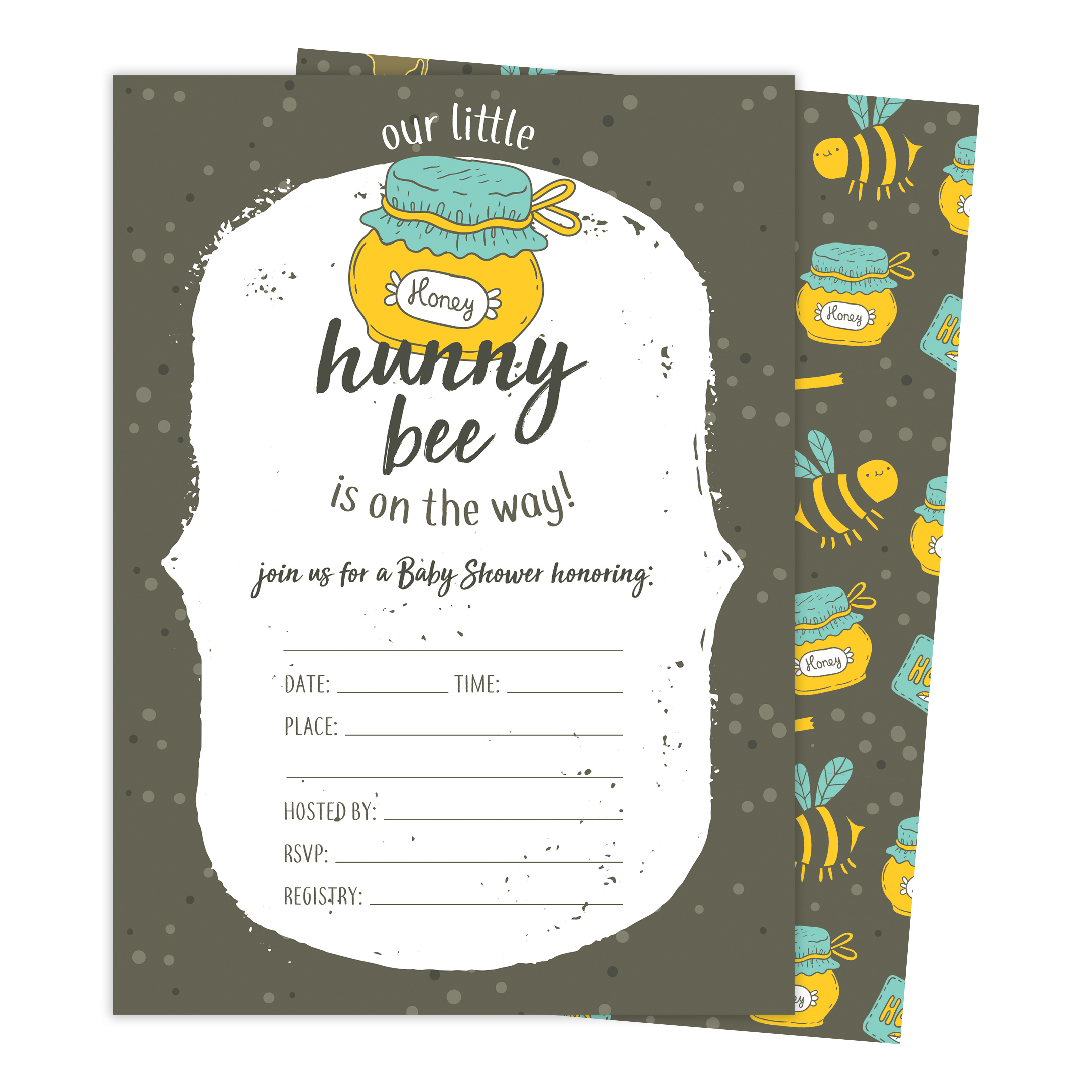 Bee 1 Bumble Bee Baby Shower Invitations Invite Cards (25 Count) With Envelopes & Seal Stickers Vinyl Girl Boy