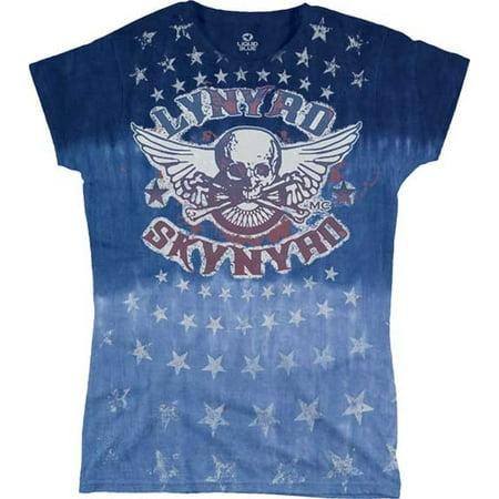 822c9fbf01a8bd Liquid Blue - Lynyrd Skynyrd Stars Junior Women s T-Shirt - Walmart.com