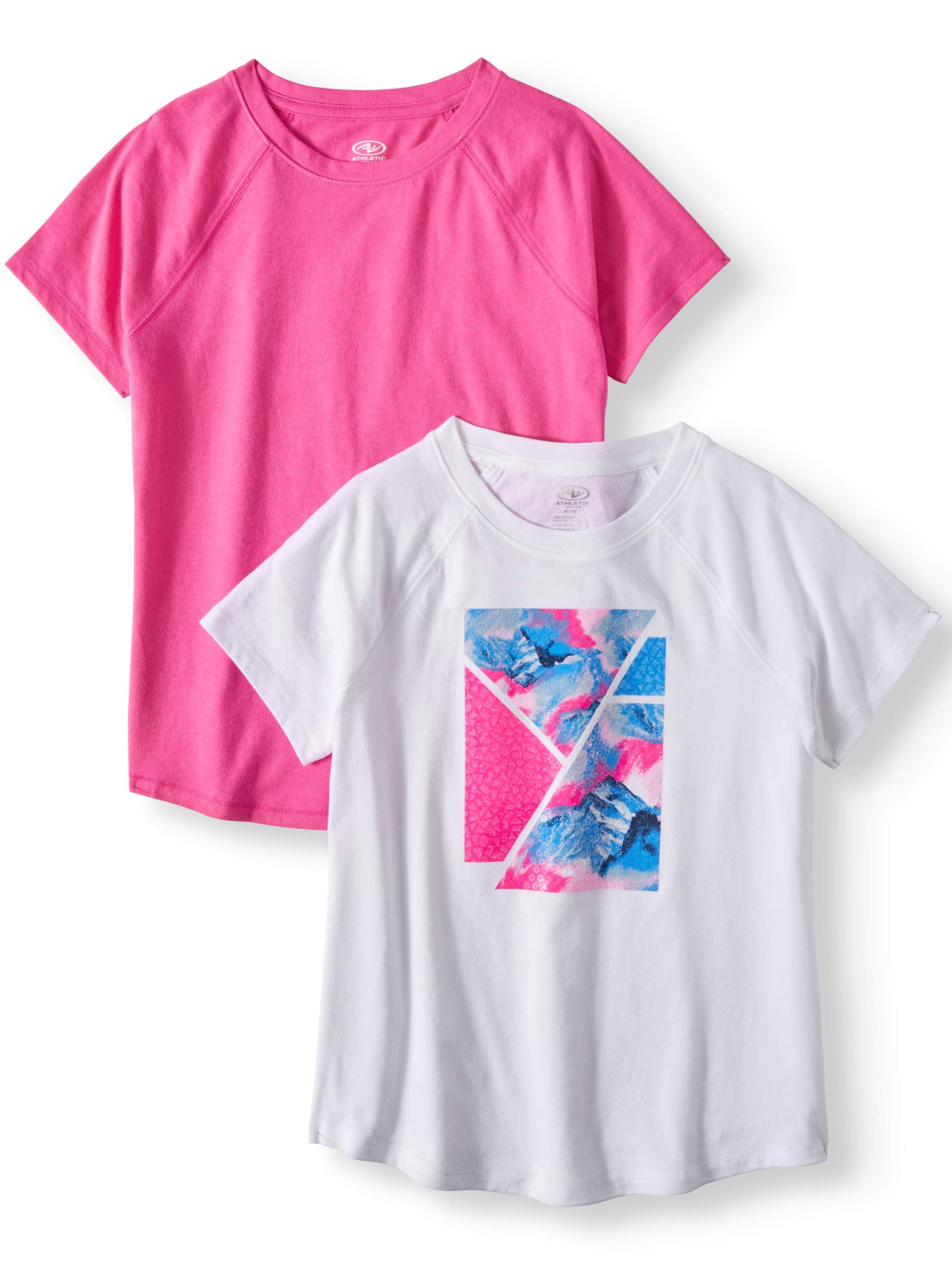 Graphic and Solid Active T-Shirts, 2-Pack (Little Girls & Big Girls)