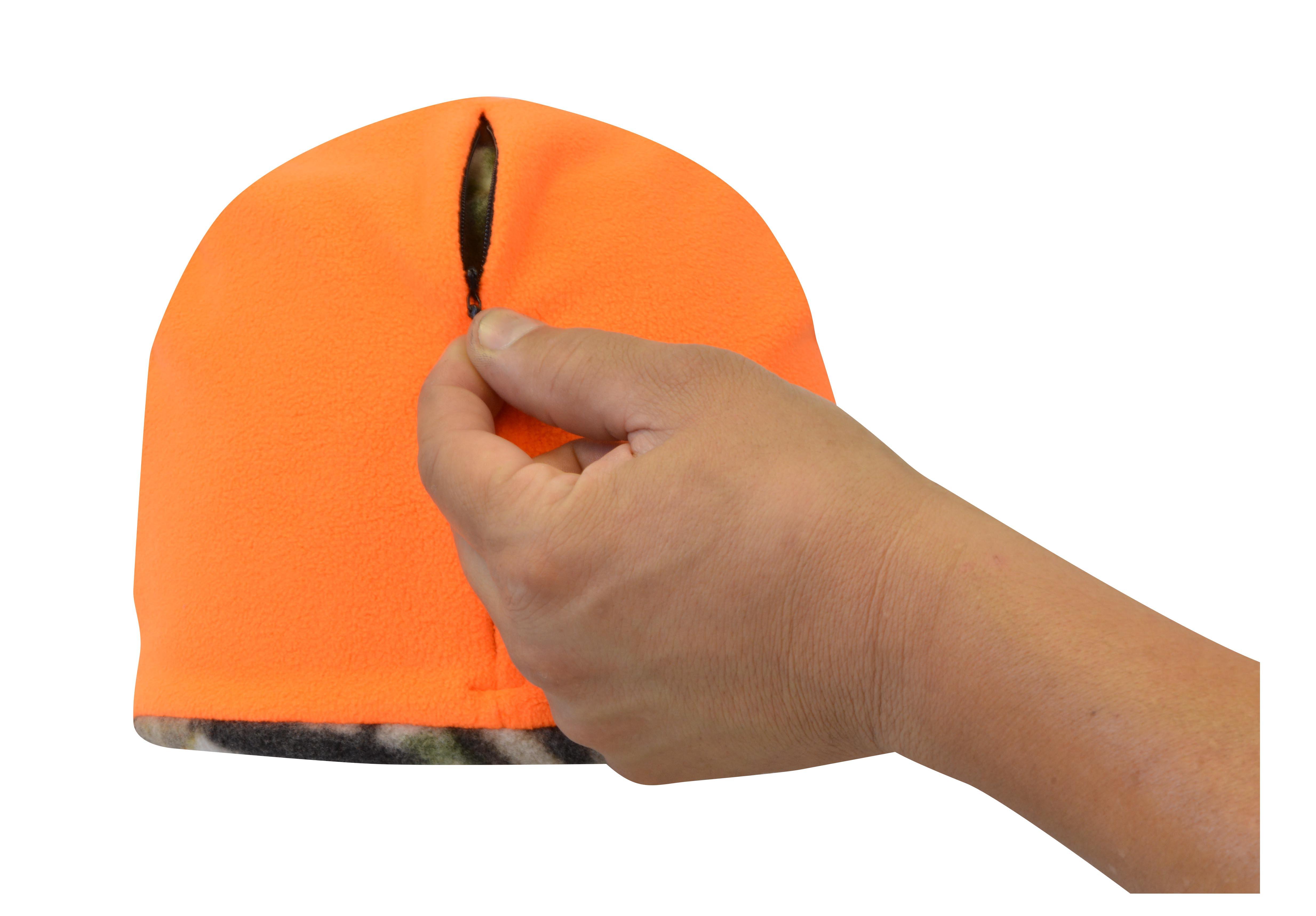 KC Caps Premium Unisex Winter Mossy Oak Reversible Hunting Orange Fleece  Beanie Hat Cap W  Hidden Zipper Storage Pocket - Walmart.com 0f83721ee1ea