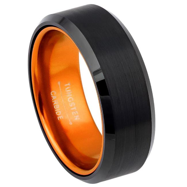 TK Rings 523TR-8mmx8.0 8 mm Black IP Plated with Orange Anodized Aluminum Inner Layer Tungsten Ring - Size 8 - image 1 of 1