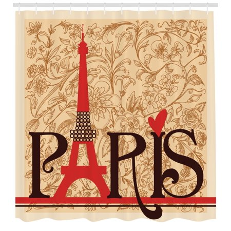 Brown Postcard - Vintage Shower Curtain, Paris Vintage Floral French Eiffel Tower City Holiday Stylish Postcards Gifts, Fabric Bathroom Set with Hooks, Red Brown Ecru, by Ambesonne