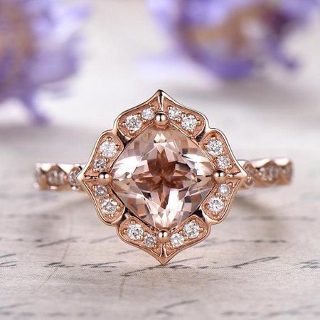 1 5 Carat Cushion Cut Real Morganite And Diamond Engagement Ring In 18k Gold Over Sterling Silver