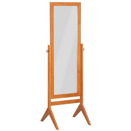 GHP Walnut Rubber Wood & Glass Full-Body Reflection Tilt Rectangular Cheval (Marina Rectangular Tilting Mirror)