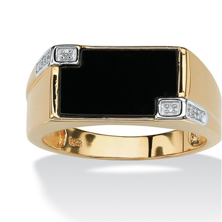 Sterling Silver Rectangular Ring (Men's Genuine Onyx and Diamond Accent Rectangular Ring in 14k Gold over .925 Sterling)