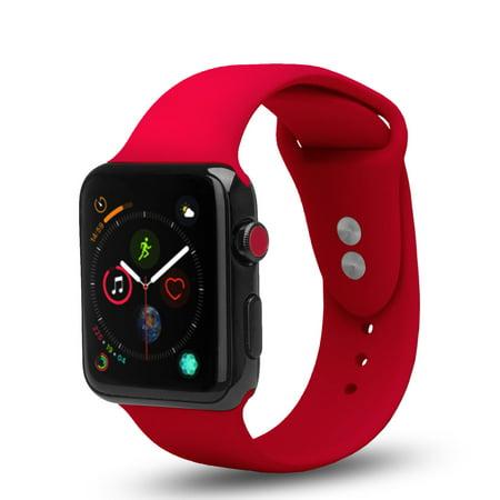3 Pack Bundle Apple Watch 38/40mm Soft Silicone Sport Strap Loop Band Series 4 3 2 1 Nike+ (Black, Blue, Red) - image 2 de 4