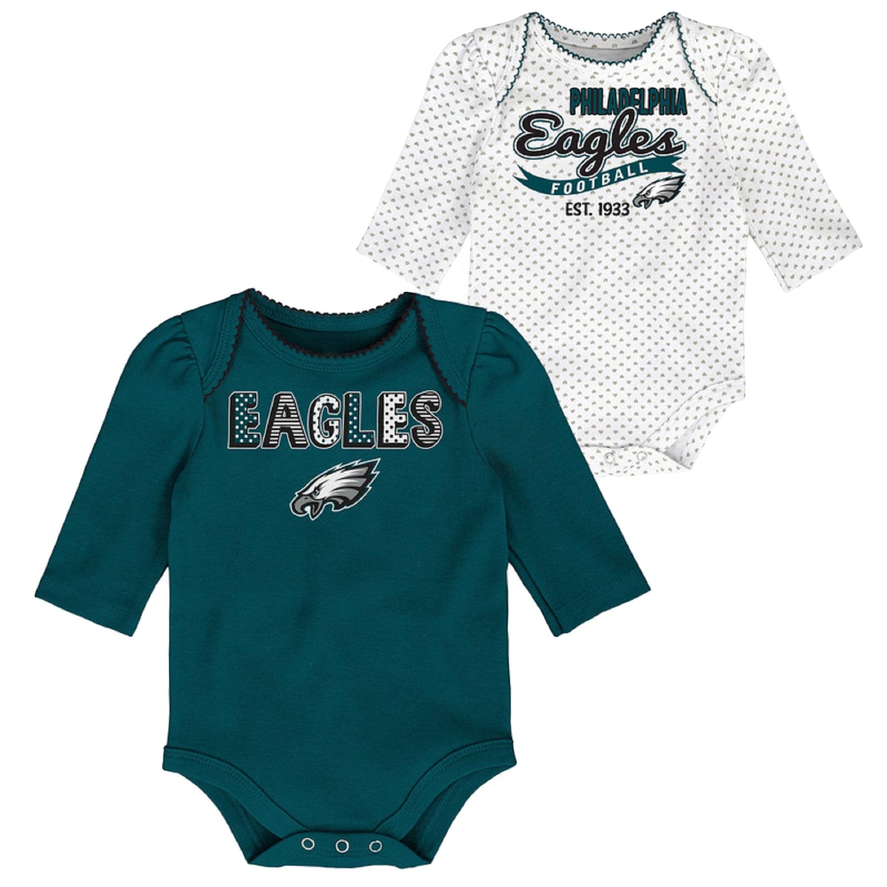Girls Newborn & Infant Midnight Green/White Philadelphia Eagles 2-Pack Long Sleeve Bodysuits