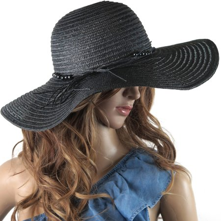 916059ee DEBRA WEITZNER - DEBRA WEITZNER Beach Straw Floppy Hat For Women Wide Brim  - Sun Protection - Packable Foldable Summer Sun hat For Ladies - Black -  Walmart. ...