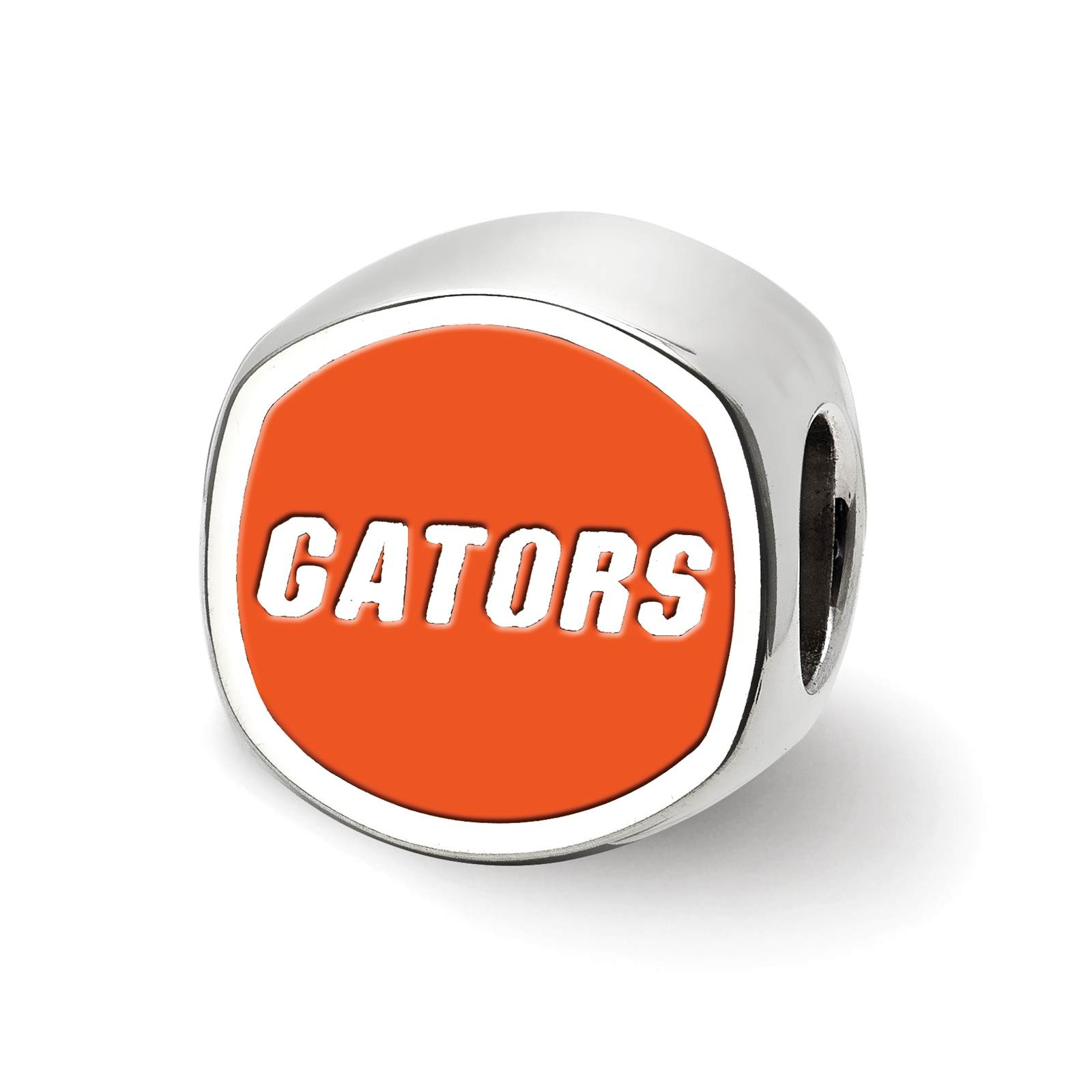 925 Silver Laser-cut University of Florida Cushion Shaped Double Logo Bead Charm