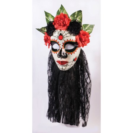 Halloween Day Of Dead Women's Black Lace Mask - Day Of The Dead Halloween Masks