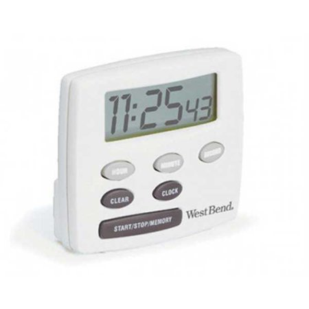 West Bend Timer - West Bend Single Channel Timer with Clock, White