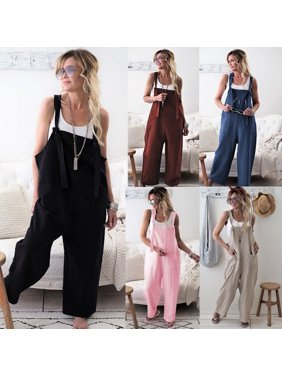 Women Casual Overalls Jumpsuit Bib Trousers Linen Dungarees Wide Leg Pants