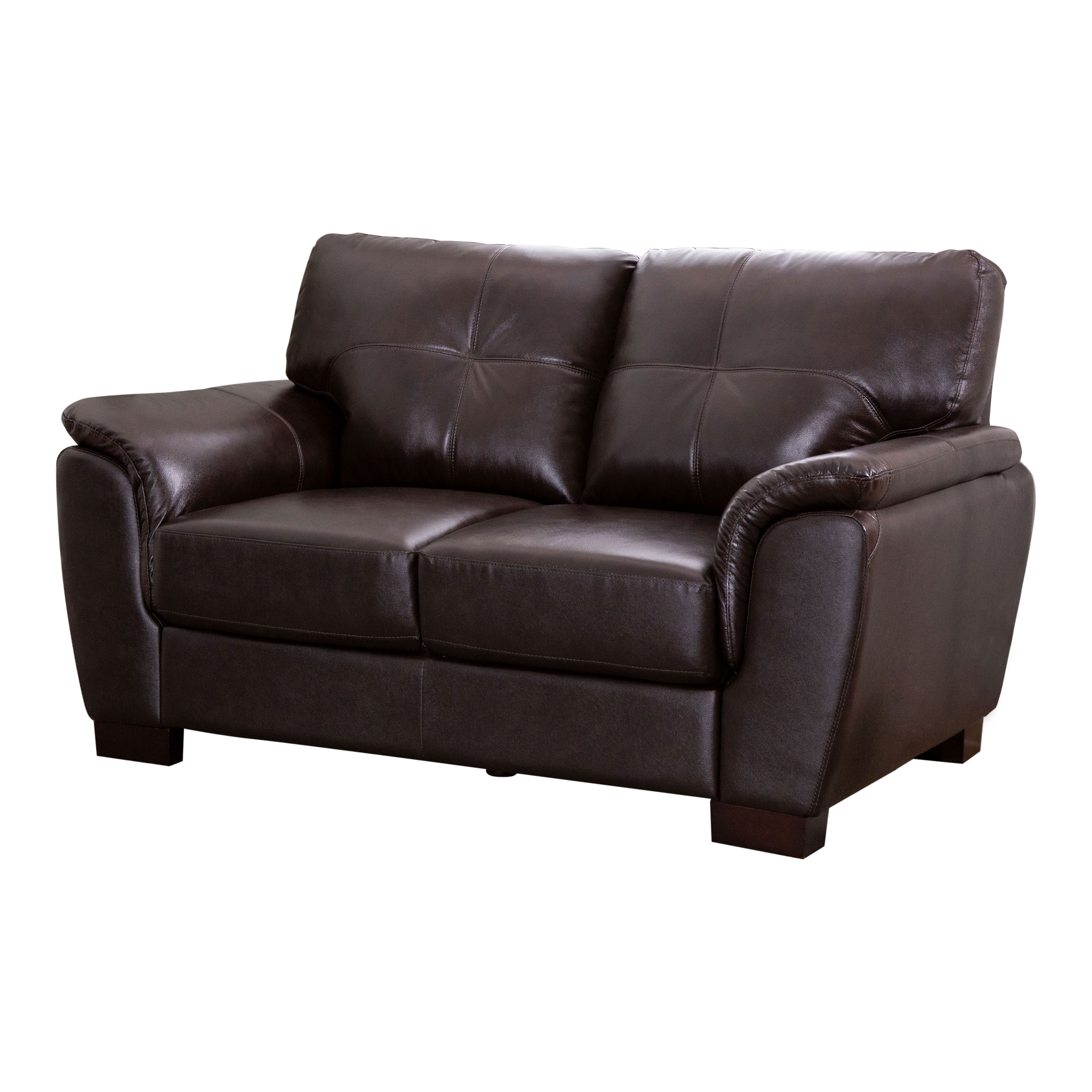 Nia Leather Loveseat, Brown