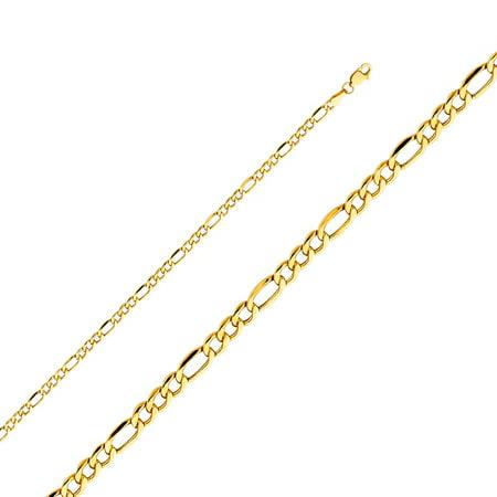 14k Yellow Solid Italian Gold 3.4mm Figaro Links Plain Polish Unisex Chain Bracelet 7 Inches