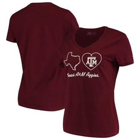 - Women's Russell Maroon Texas A&M Aggies State V-Neck T-Shirt