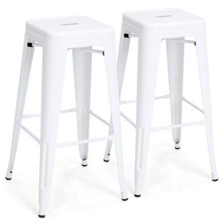 Best Choice Products 30in Set of 2 Modern Industrial Backless Metal Counter Height Bar Stools w/ Drainage Holes for Indoor/Outdoor Kitchen, Bonus Room, Patio - (Metal Modern Bar Stool)