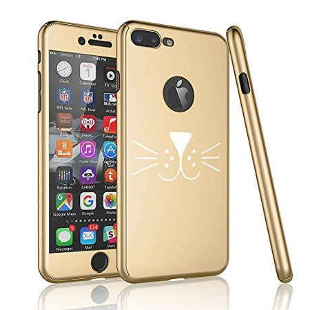 360° Full Body Thin Slim Hard Case Cover + Tempered Glass Screen Protector for Apple iPhone Cat Face Whiskers (Gold, for Apple iPhone 7 / iPhone (Glasses For Slim Face)