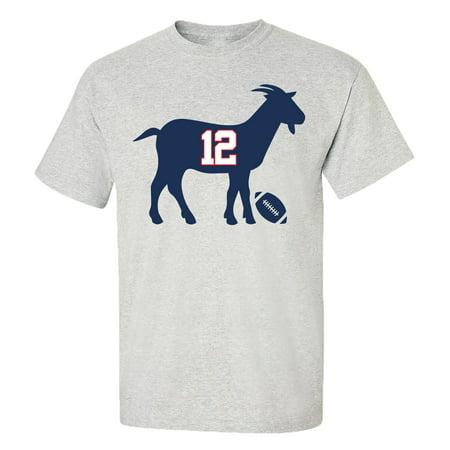 Patriots #12 G.O.A.T. Adult Unisex Short Sleeve T-Shirt-Sports Gray-XXL