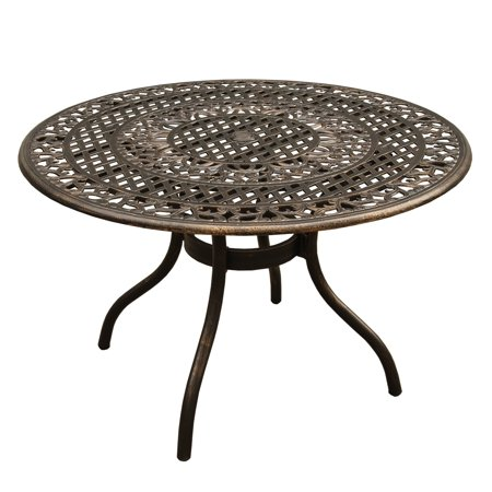 Oakland Living Outdoor Mesh Lattice Aluminum 48 inch Bronze Round Dining Table ()