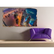 Startonight 3D Mural Wall Art Photo Decor Skyscrapers from Above Amazing Dual View Surprise Wall Mural Wallpaper Urban Wall Paper Gift Large 47.24 '' By 86.61 ''