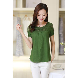 Unomatch Women Casual Wear Lace Summer Lace Decorated Blouse Green