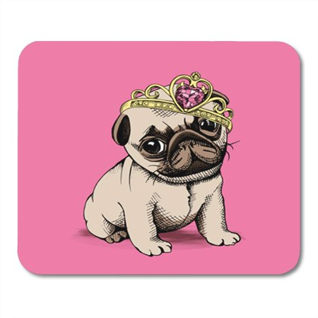 LADDKE Puppy Chihuahua in a Princess Crown on Pink Background Vector Mousepad Mouse Pad Mouse Mat 9x10 - Pink Princess Pad