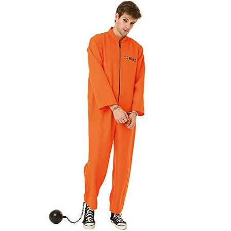 Boo! Inc. Conniving Convict Adult Men's Halloween Costume Orange Black Prison Jumpsuit (Boo Crew Halloween Party Supplies)