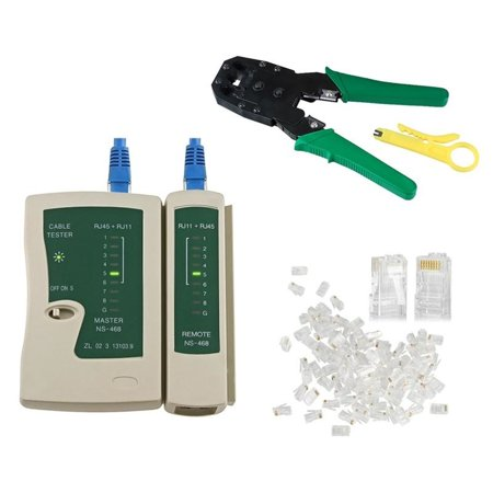 Insten Cable Tester + Crimp Crimper + CAT5 Cable 100' RJ45 CAT5 CAT5e Connector Plug Network Tool Kit (3-in-1 Accessory