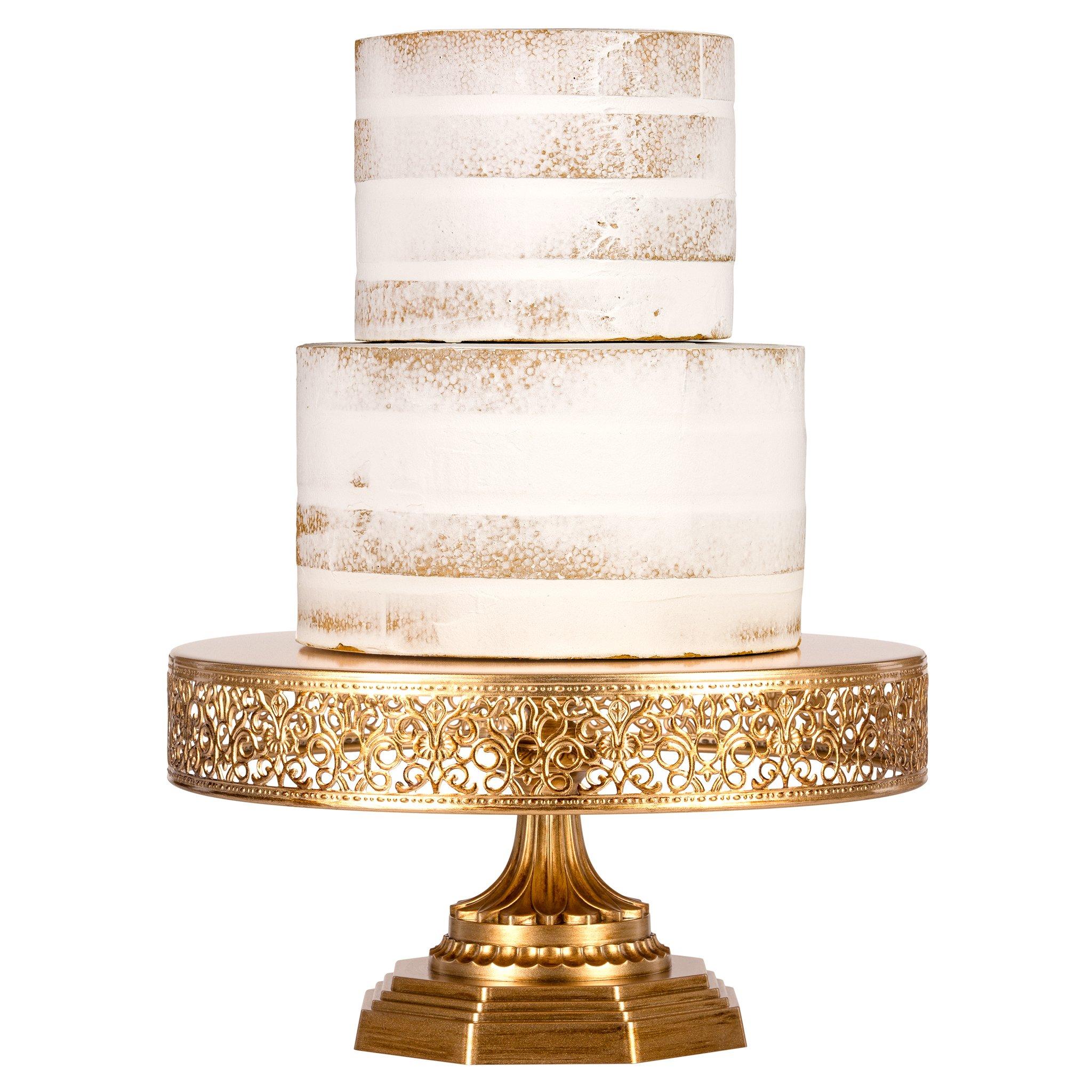 Amalfi Decor 12 Inch Vintage Round Metal Wedding Cake Stand (Gold ...