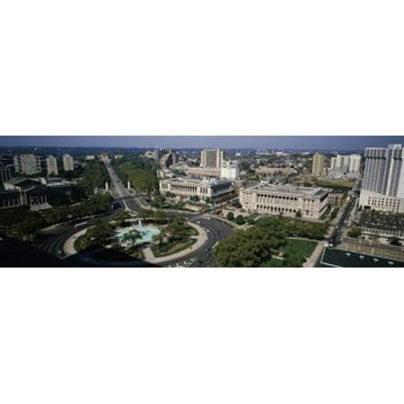 Aerial view of buildings in a city Logan Circle Ben Franklin Parkway Philadelphia Pennsylvania USA Poster Print (Logan Circle)
