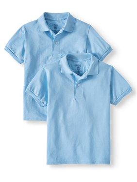 Jerzees Boys School Uniform SpotShield Short Sleeve Polo, 2 Pack (Little Boys & Big Boys)