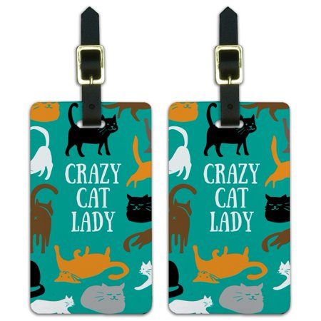 Graphics and More Crazy Cat Lady Teal Orange Black Brown Luggage ID Tags Suitcase Carry-On Cards - Set of 2
